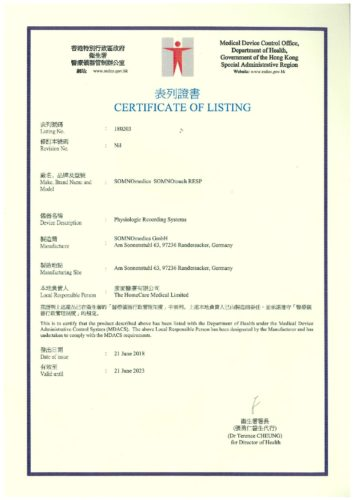 Certificate of Listing - SOMNOtouch RESP valid till 21-June-2013 (180203)-001